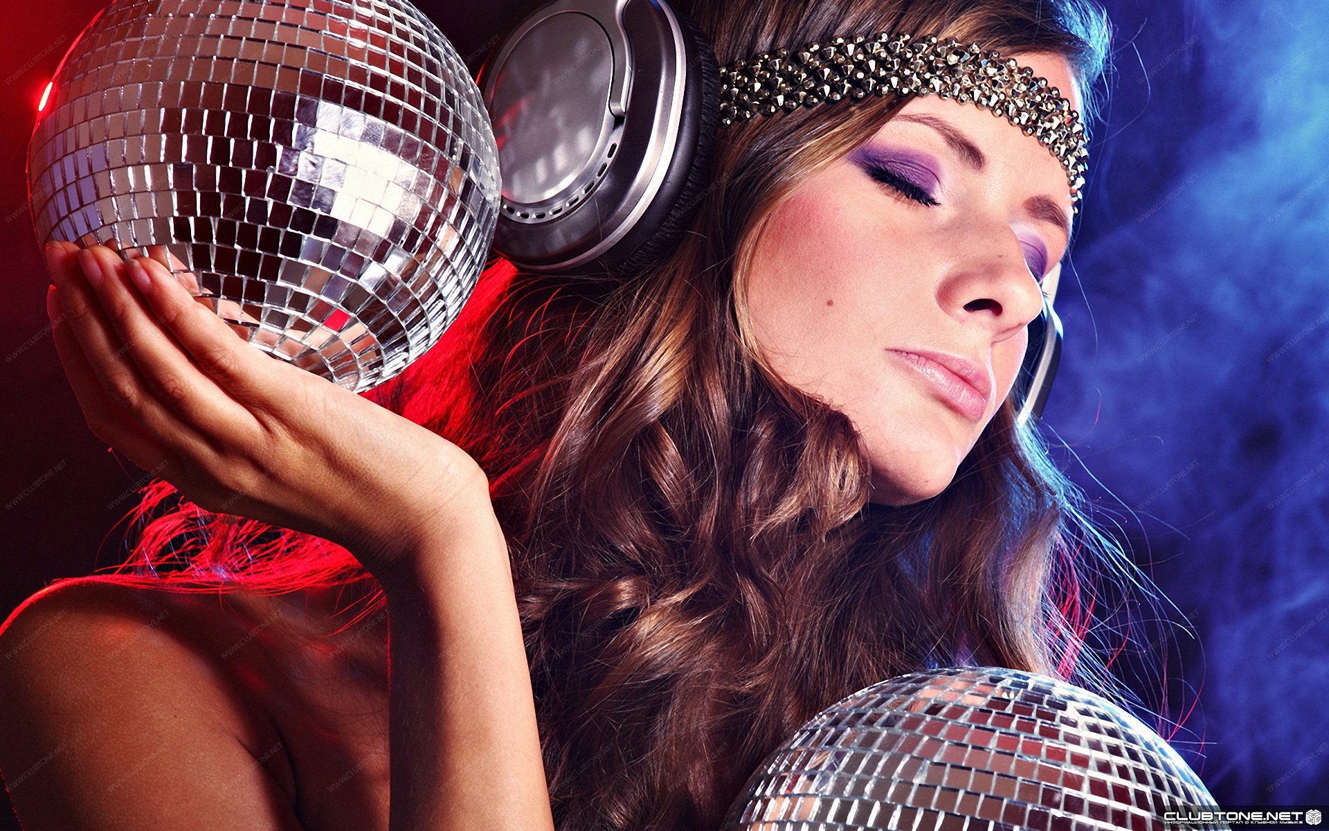 girl with headphones and disco balls