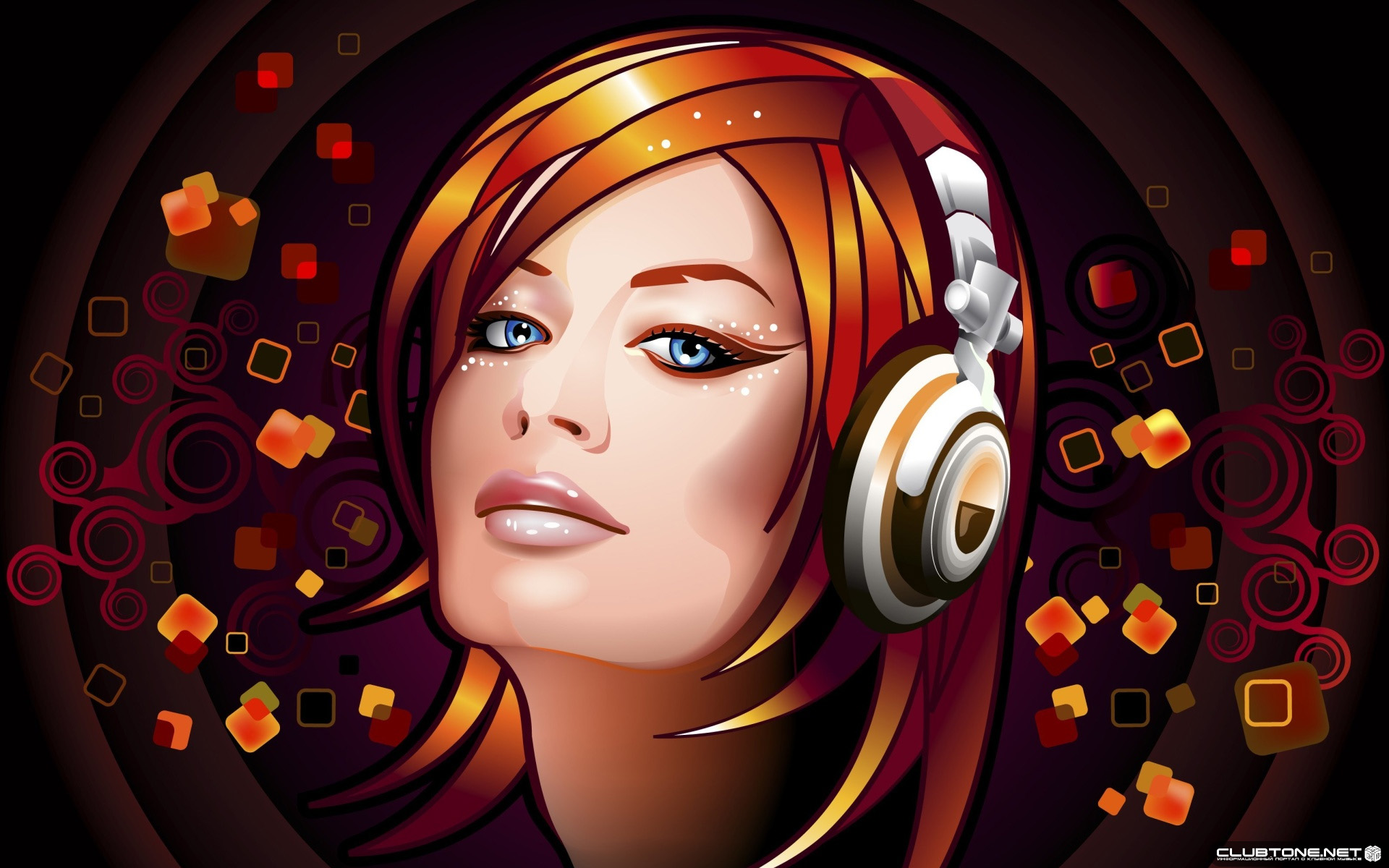 vector girl listen music